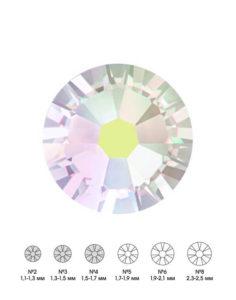 Стразы стеклянные MIX CRYSTAL АВ (прозрачный, голографический) №2 №3 №4 150шт 250руб