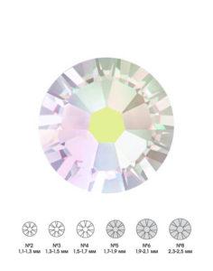 Стразы стеклянные MIX CRYSTAL АВ (прозрачный, голографический) №5 №6 №8 150шт 250руб