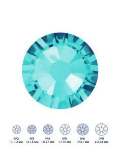Стразы стеклянные MIX AQUAMARINE (голубой) №3 №4 №6 150шт 250руб