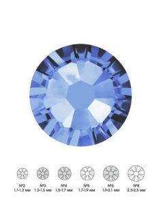 Стразы стеклянные MIX Lt.SAPPHIRE (светло-голубой) №3 №4 №6 150шт 250руб