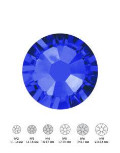 Стразы стеклянные MIX SAPPHIRE (синий) №3 №4 №6 150шт 250руб