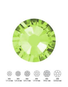 Стразы стеклянные MIX PERIDOT (оливковый) №3 №4 №6 150шт  250руб