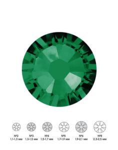 Стразы стеклянные MIX EMERALD (изумрудный) №3 №4 №6 150шт  250руб