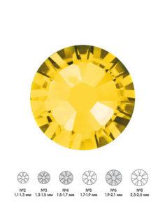 Стразы стеклянные MIX CITRINE (лимонный) №3 №4 №6 150шт  250руб