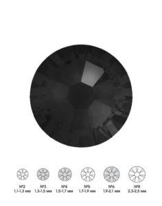 Стразы стеклянные MIX JET (черный) №3 №4 №6 150шт 250руб