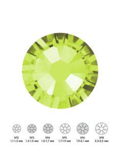 Стразы стеклянные MIX OLIVINE (лаймовый) №3 №4 №6 150шт 250руб