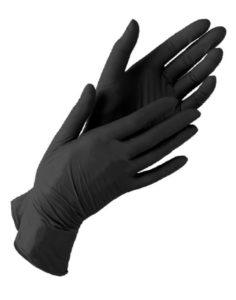 Перчатки нитриловые неопудренные чёрные размер S 50пар 980руб